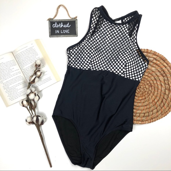 3baa234b5d6 Piha Swim   Black White Mesh Onepiece Bathing Suit   Poshmark
